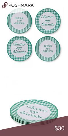 """Draper James Melamine Green Brunch Plates SOLD OUT Brunch is just a little more fun when the food is served on pretty (and witty) printed plates. Set the whole table with our matching printed cake plate, mugs, and platter! DETAILS & FIT  4 per set 11"""" diameter 100% melamine Import Draper James Accessories"""