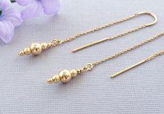Gold Threader Earrings Gold Ear Threads with Sparkly 14k Gold Filled Beads Gold Threader Earrings Wedding Earrings