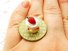 Strawberry Shortcake Miniature Food Ring by SouZouCreations, $12.50