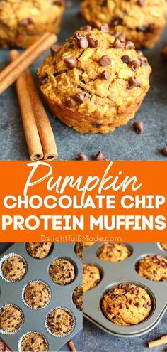 Protein Powder Muffins, High Protein Muffins, Pumpkin Protein Muffins, Pumpkin Chocolate Chip Muffins, Protein Powder Recipes, Healthy Muffins, Healthy Sweets, Healthy Baking, Chocolate Protein Muffins