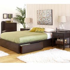 Dark Mahogany Chase Bedroom Collection | World Market...underbid storage and then add homemade upholstered headboard?