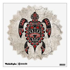 Cracked Red and Green Haida Spirit Sea Turtle Wall Sticker