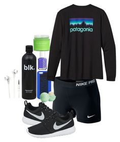 """I wish we could wear nike pros to school!"" by preppygirl13 ❤ liked on Polyvore featuring NIKE, Patagonia, Merkury Innovations, Essie, Eos and Sara Happ"