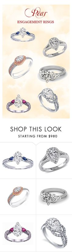 """""""Pear Engagement Rings"""" by mdc-diamonds ❤ liked on Polyvore"""