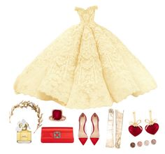 """""""Yellow meet Red"""" by steviepumpkin ❤ liked on Polyvore featuring Gianvito Rossi, Gucci, KDIA, Marc Jacobs, Terre Mère, dress, lovely, gown, girl and eyecatching"""