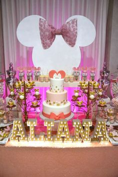 Pink and gold Minnie Mouse birthday party! See more party planning ideas at CatchMyParty.com!