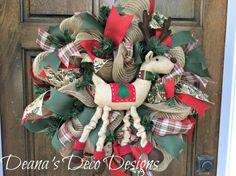 Reindeer Rustic Christmas deco mesh wreath by DeanasDecoDesigns
