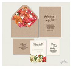 RUSTIC  SPRING SUMMER Floral Wedding invitations - Printable - Natural Kraft Card