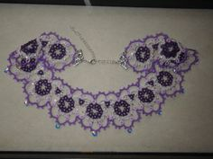 Purple statement tatted necklace & earrings with Swarovski crystals, lavender, violet, tatting jewelry