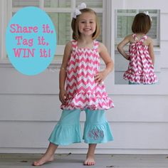 Cute outfit and great idea to put the monogram on the leg ruffle