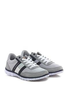 TOMMY HILFIGER - Sneakers - Uomo - Sneaker in pelle, camoscio e tessuto con suola in gomma. Tacco 30, platform 20 con battuta 10. - GREY\BLU - € 100.00