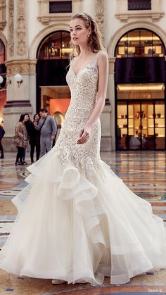 eddy k milano bridal 2017 sleeveless vneck embellished bodice horsehair skirt mermaid wedding dress (md195) mv