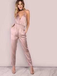 Розовый шелковистый модный комбинезон