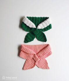 Crochet bowtie scarf Layered style + moss stitch 코바늘 네키목도리 레이어드네키목도리 + 모스스티치 네키목도리 #candypowder #TODAY TOMORROW