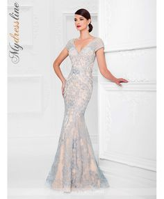 d86421df0f3 Ivonne D 117D70 tulle and allover lace trumpet gown with hand-beaded  illusion cap sleeves