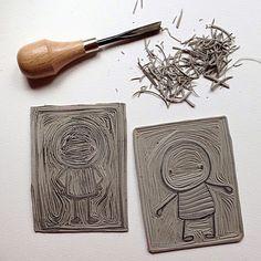Isabelle Kessedjian: Linogravure.