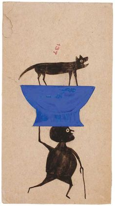 Bill Traylor (c. 1854–1949) Montgomery, Alabama c. 1939–1947 Poster paint and pencil on cardboard