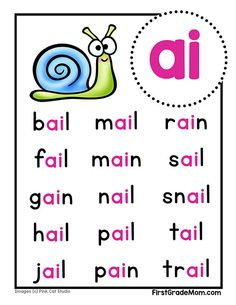 Free printable vowel team charts for first grade! These colorful charts include words for students to practice reading and cover ai, ea, ie, oa, and ue words. Learning English For Kids, English Worksheets For Kids, English Lessons For Kids, Learn English Words, Teaching English, Phonics Rules, Phonics Lessons, Phonics Worksheets, Phonics Activities