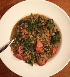 Homemade lentil stew with andouille sausage & kale  #healthyeating #glutenfreeheart by glutenfreeheart