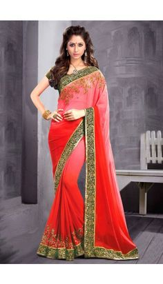 Red Georgette Saree With Raw Silk Blouse - DMV11185