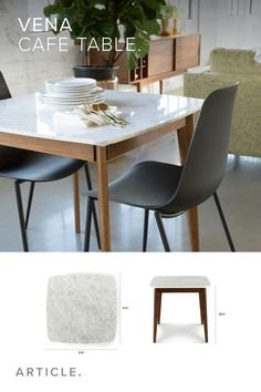 mpress your dinner date with the sleek, simple, and stylish design of the marble Vena cafe table.