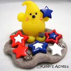 PATRIOTIC Stars PARKER  Polymer Clay Character  by KatersAcres, $42.00