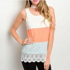 COLOR BLOCK LACE DETAIL TANK Flirty fun color block top in colors of ivory, mint, and pink. This tank features a scoop neckline and a scalloped lace hem. 100% polyester. L27 B36 W38. M and L will measure slightly larger.  DO NOT buy this listing. Please comment size needed below and I will make a separate listing or bundle for you . L (1) No PayPal. No trades. Price firm unless bundled. Tops Tank Tops