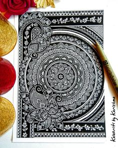 There are times when we're not completely satisfied with the outcome of a work. Mandala Art Lesson, Mandala Doodle, Mandala Artwork, Mandala Painting, Doodle Art Drawing, Mandala Drawing, Ink Pen Drawings, Art Drawings Sketches, Unique Drawings