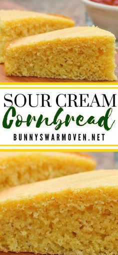 SOUR CREAM CORN BREAD This Sour Cream Cornbread recipe is so moist and delicious. It's super easy to make, the entire family will love it, and it's simply the BEST! Buttery Cornbread Recipe, Sour Cream Cornbread, Buttermilk Cornbread, Homemade Cornbread, Sweet Cornbread, Cornbread Recipes, Cornbread Recipe Without Baking Powder, Cream Cheese Cornbread Recipe, Creamed Corn Cornbread