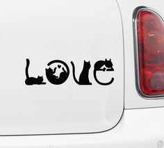Cats Spell LOVE - Car Vinyl Decal Sticker - Copyright © Yadda-Yadda Design Co. x (Color Choices) - Approx Size As Shown: x - Instructions, link to video and 2 practice decals include Silhouette Chat, Silhouette Design, Silhouette Portrait, Car Decals, Bumper Stickers, Vinyl Decals, Vinyl Crafts, Vinyl Projects, Paper Crafts