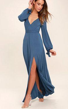 Just The Thing Slate Blue Long Sleeve Maxi Dress via @bestmaxidress