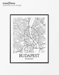Budapest Map Print - Customize the bottom line text (see examples above). Frames…
