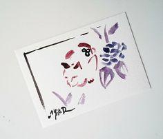 """Carte postale unique aquarelle """"Le Chat hortensia"""" japonais breton prune violet : Cartes par milid"""