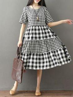 Vintage Plaid Loose Split-joint Long Dress - #dress #Long #Loose #Plaid #Splitjoint #Vintage