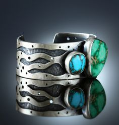 Royston & Broken Arrow Turquoise Cuff Bracelet. Fabricated Sterling Silver. www.amybuettner.com