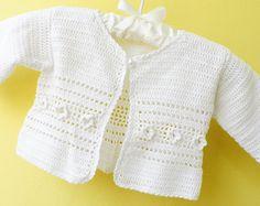Crochet baby sweater, white baby vest,, Christening /Baptism sweater, Ready to… Crochet Baby Sweaters, Crochet Baby Jacket, Crochet Baby Clothes, Crochet Cardigan, Knit Crochet, Crochet Pattern, Baby Cardigan, Baby Pullover, Baby Knitting Patterns