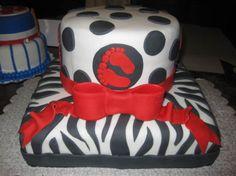 Red Zebra Animal Print Baby Shower Cake