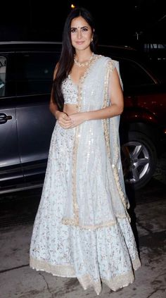 In attendance were Katrina Kaif, Shah Rukh Khan, Sonakshi Sinha, Sophie Choudry among several others, and needless to say most put their best fashion foot forward. Blue Lehenga, Indian Lehenga, Silk Lehenga, Pakistani, Indian Attire, Indian Wear, Katrina Kaif Photo, Bollywood Wedding, Desi Wedding