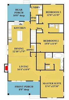 Plan Restful Cottage Plan with Optional Second-Level Bonus Room - Architecture Cottage House Plans, Bedroom House Plans, New House Plans, Dream House Plans, House Floor Plans, Cottage Homes, Cabin Homes, Architecture Design, Contemporary Architecture