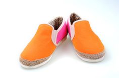 Toms women shoes orange with pink rope sole
