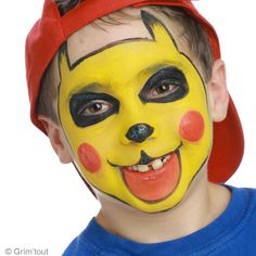 3. Finitions du maquillage Pikachu enfant                                                                                                                                                                                 Plus Pikachu Face Painting, Reds Bbq, Facial, Leather Apron, Pokemon Party, Grilling Gifts, Costume Makeup, Airbrush, Art For Kids
