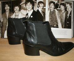 Black Leather Chelsea Chunky Heel Beatles Boot by kellyshippyhut, $38.00