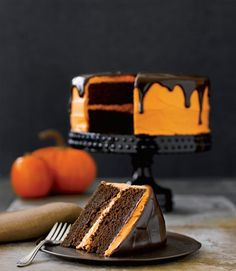Chocolate Pumpkin Glazed Halloween Cake.