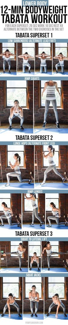 12-Minute Bodyweight Tabata Workout Series: Lower Body (Legs & Glutes) | Pumps & Iron | Bloglovin'