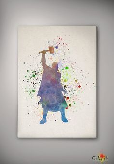 Thor Marvel Avengers Watercolor illustrations Art Print  Wall Poster Giclee Wall Decor Home Decor Wall Hanging Modern Geek Multi Size n474 on Etsy, $10.00