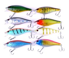 8pcs of bionic minnow fishing lures hard artificial swimbait topwater fishing accessories big game fake baits pesca tackle hooks