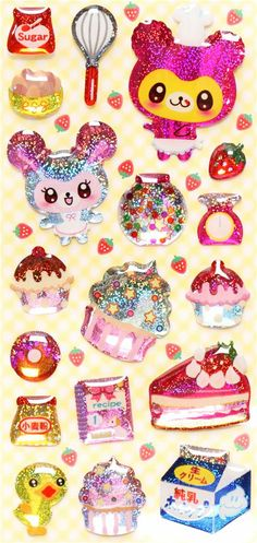 3D epoxy glitter stickers with baking cake mouse Japan 2