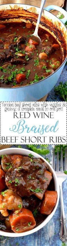 Red Wine Braised Beef Short Ribs - Lord Byron's Kitchen #comfortfood #cookingwithwine