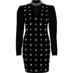 River Island Black velvet faux pearl choker bodycon dress ($160) ❤ liked on Polyvore featuring dresses, black, bodycon dresses, women, long sleeve embellished dress, long-sleeve velvet dresses, long sleeve cocktail dresses, velvet cocktail dress and body con dresses