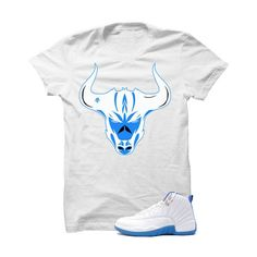 Jordan 12 Gs University Blue White T Shirt (Bulls Head)